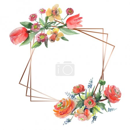 Photo for Bouquet floral botanical flowers. Wild spring leaf wildflower isolated. Watercolor background illustration set. Watercolour drawing fashion aquarelle isolated. Frame border ornament square. - Royalty Free Image