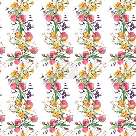 Photo pour Bouquet floral fleurs botaniques. Fleur sauvage sauvage de feuille de source. Ensemble d'illustration d'aquarelle. Aquarelle de dessin à l'aquarelle. Modèle de fond sans couture. Texture d'impression de papier peint de tissu. - image libre de droit