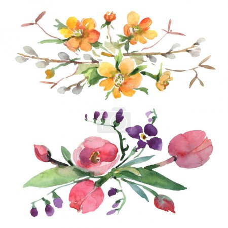 Photo for Bouquet floral botanical flowers. Wild spring leaf wildflower isolated. Watercolor background illustration set. Watercolour drawing fashion aquarelle isolated. Isolated bouquets illustration element. - Royalty Free Image