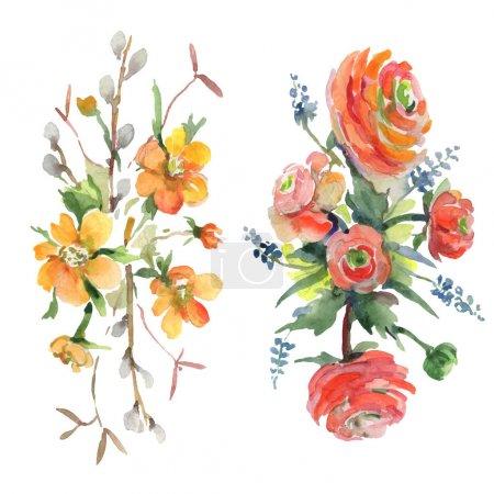 Foto de Bouquet floral flores botánicas. Hoja de primavera silvestre wildflower aislado. Conjunto de ilustraciones de fondo de acuarela. Acuarela dibujando moda acuarela aislada. Elemento de ilustración de ramos aislados. - Imagen libre de derechos