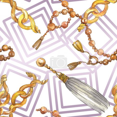 Photo pour Chaînes dorées esquisse illustration glamour dans un élément de style aquarelle. Vêtements accessoires aqurelle set tenue vogue tendance. Aquarelle motif de fond sans couture. Texture d'impression papier peint tissu . - image libre de droit