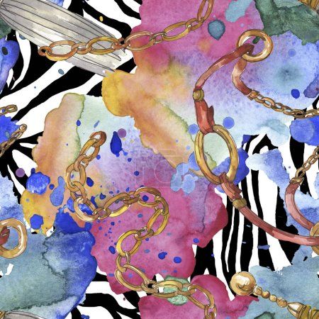 Photo for Golden chains sketch glamour illustration in a watercolor style element. Clothes accessories aqurelle set trendy vogue outfit. Watercolour seamless background pattern. Fabric wallpaper print texture. - Royalty Free Image
