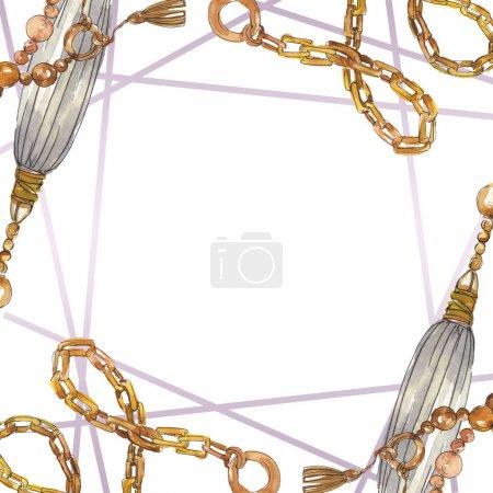 Photo pour Illustration de croquis de chaînes dorées dans un élément de style aquarelle. Vêtements accessoires aqurelle set tenue vogue tendance. Ensemble d'illustration de fond aquarelle. Cadre bordure ornement carré . - image libre de droit