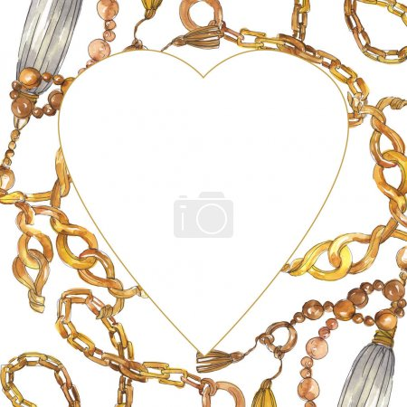 Photo for Golden chains sketch illustration in a watercolor style element. Clothes accessories aqurelle set trendy vogue outfit. Watercolour background illustration set. Frame border ornament square. - Royalty Free Image