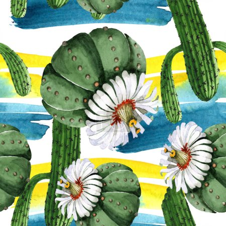 Photo pour Green cactus floral botanical flower. Wild spring wildflower. Watercolor illustration set. Watercolour drawing fashion aquarelle. Seamless background pattern. Fabric wallpaper print texture. - image libre de droit