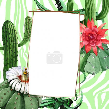Photo for Green cactus floral botanical flower. Wild spring wildflower isolated. Watercolor background illustration set. Watercolour drawing fashion aquarelle isolated. Frame border ornament square. - Royalty Free Image