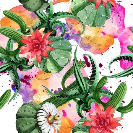 Photo pour Fleur botanique florale de cactus vert. Fleur sauvage de source sauvage. Ensemble d'illustration d'aquarelle. Aquarelle de dessin à l'aquarelle. Modèle de fond sans couture. Texture d'impression de papier peint de tissu. - image libre de droit