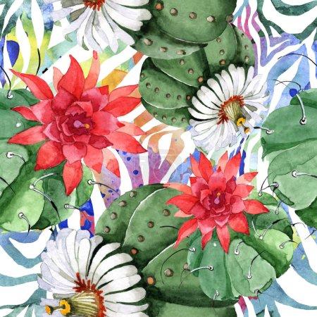 Foto de Flor botánica floral de cactus verde. Flor silvestre de primavera silvestre. Conjunto de ilustraciones de acuarela. Acuarela dibujando moda acuarela. Patrón de fondo sin costuras. Textura de impresión de fondo de pantalla de tela. - Imagen libre de derechos