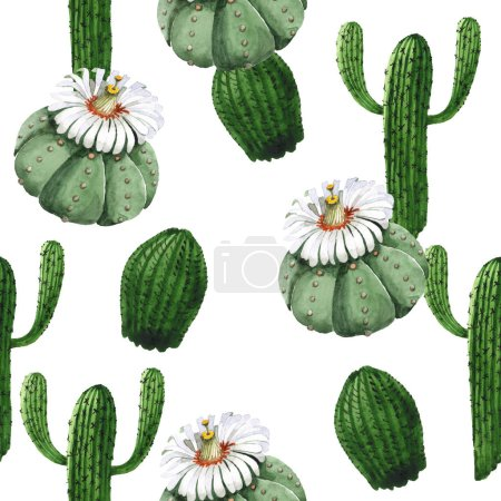 Photo for Green cactus floral botanical flower. Wild spring wildflower. Watercolor illustration set. Watercolour drawing fashion aquarelle. Seamless background pattern. Fabric wallpaper print texture. - Royalty Free Image