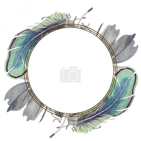 Photo for Watercolor bird feather from wing isolated. Aquarelle feather for background, texture, wrapper pattern, frame or border. Frame border ornament square. - Royalty Free Image