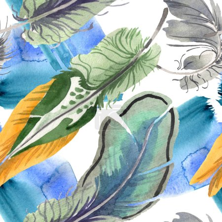 Foto de Watercolor bird feather from wing isolated. Aquarelle feather for background, texture, wrapper pattern, frame or border. Seamless background pattern. Fabric wallpaper print texture. - Imagen libre de derechos