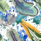 "Постер, картина, фотообои ""Watercolor bird feather from wing isolated. Aquarelle feather for background. Seamless background pattern."""
