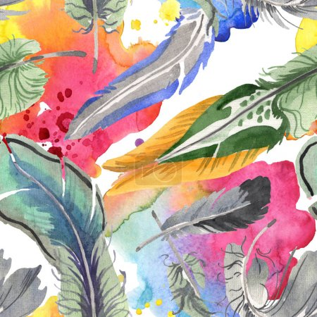 Photo for Watercolor bird feather from wing isolated. Aquarelle feather for background, texture, wrapper pattern, frame or border. Seamless background pattern. Fabric wallpaper print texture. - Royalty Free Image