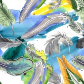 """Постер, картина, фотообои """"Watercolor bird feather from wing isolated. Aquarelle feather for background. Seamless background pattern."""""""