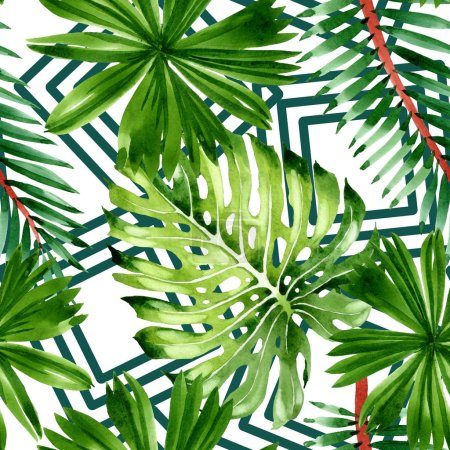 Photo for Exotic tropical hawaiian summer. Palm beach tree leaves. Watercolor illustration set. Watercolour drawing fashion aquarelle. Seamless background pattern. Fabric wallpaper print texture. - Royalty Free Image