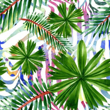 Photo pour Été tropical hawaïen exotique. Feuilles d'arbre de plage de paume. Ensemble d'illustration d'aquarelle. Aquarelle de dessin à l'aquarelle. Modèle de fond sans couture. Texture d'impression de papier peint de tissu. - image libre de droit