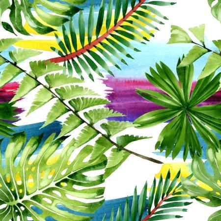 Photo pour Été hawaïen tropical exotique. Feuilles de palmier. Ensemble d'illustration aquarelle. Aquarelle dessin mode aquarelle. Modèle de fond sans couture. Texture d'impression papier peint tissu . - image libre de droit