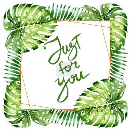 Photo pour Été tropical hawaïen exotique. L'arbre de plage de palmier laisse la jungle botanique. Ensemble d'illustration de fond d'aquarelle. Aquarelle de mode de dessin d'aquarelle d'aquarelle d'aquarelle. Carré d'ornement de bordure de cadre. - image libre de droit