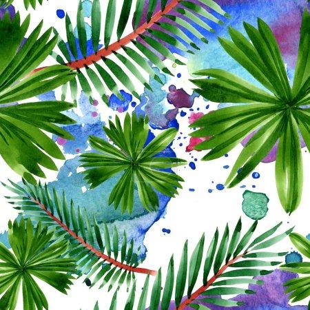 Foto de Exótico verano hawaiano tropical. Hojas de palmeras. Conjunto de ilustraciones de acuarela. Acuarela dibujando moda acuarela. Patrón de fondo sin costuras. Textura de impresión de fondo de pantalla de tela. - Imagen libre de derechos