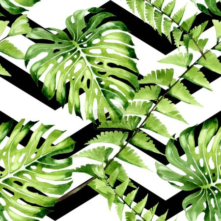 Palm beach tree leaves jungle botanical. Watercolor background illustration set. Seamless background pattern.