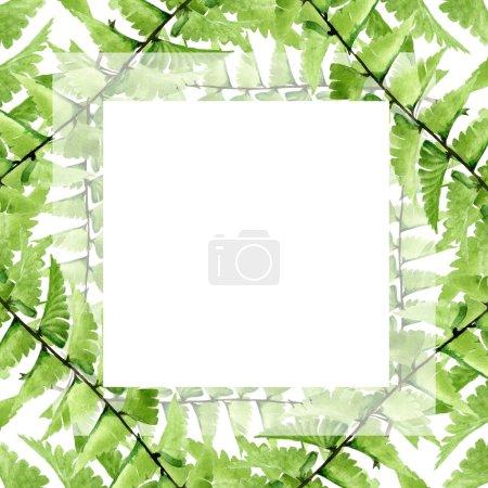 Photo pour Été hawaïen tropical exotique. Palm plage arbre feuilles jungle botanique. Ensemble d'illustration de fond aquarelle. Aquarelle dessin mode aquarelle isolé. Cadre bordure ornement carré . - image libre de droit
