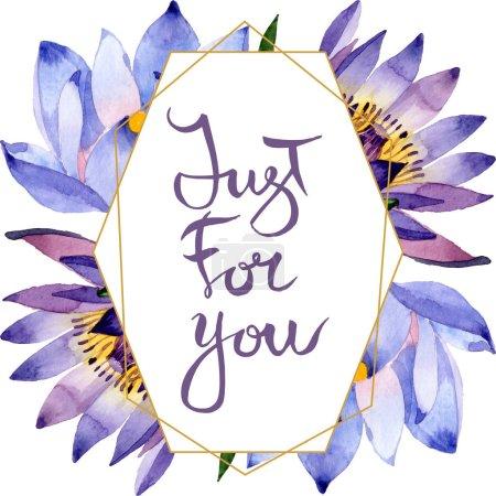 Photo pour Fleurs botaniques florales de lotus bleu. Fleur sauvage de neige sauvage de feuille de source d'isolement. Ensemble d'illustration de fond d'aquarelle. Aquarelle de dessin à l'aquarelle. Carré d'ornement de cristal de bordure de cadre. - image libre de droit