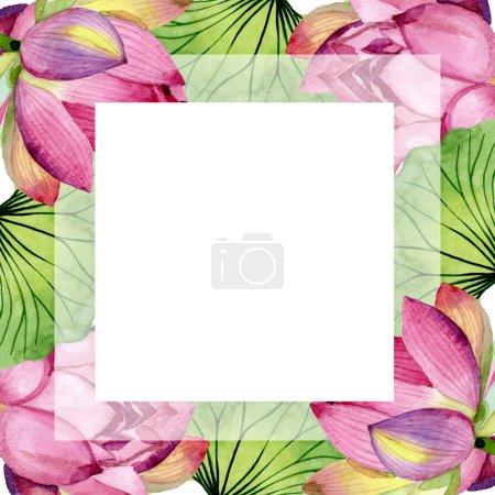 Photo pour Fleurs botaniques florales de lotus rose. Feuille sauvage de printemps fleur sauvage isolée. Ensemble d'illustration de fond aquarelle. Aquarelle dessin mode aquarelle isolé. Cadre bordure ornement carré . - image libre de droit