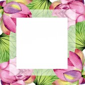 "Постер, картина, фотообои ""Pink lotus floral botanical flowers. Watercolor background illustration set. Frame border ornament square."""