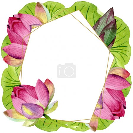 Photo for Pink lotus floral botanical flowers. Wild spring leaf wildflower isolated. Watercolor background illustration set. Watercolour drawing fashion aquarelle isolated. Frame border crystal ornament square. - Royalty Free Image
