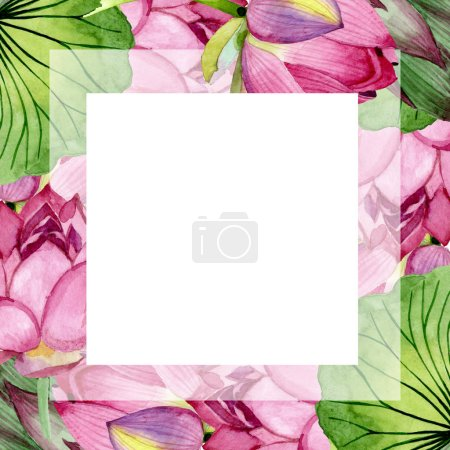 Photo pour Fleurs botaniques florales de lotus rose. Fleur sauvage de neige sauvage de feuille de source d'isolement. Ensemble d'illustration de fond d'aquarelle. Aquarelle de mode de dessin d'aquarelle d'aquarelle d'aquarelle. Carré d'ornement de bordure de cadre. - image libre de droit