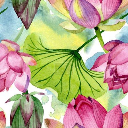 Photo pour Fleurs botaniques florales de lotus rose. Fleur sauvage sauvage de feuille de source. Ensemble d'illustration d'aquarelle. Aquarelle de dessin à l'aquarelle. Modèle de fond sans couture. Texture d'impression de papier peint de tissu. - image libre de droit