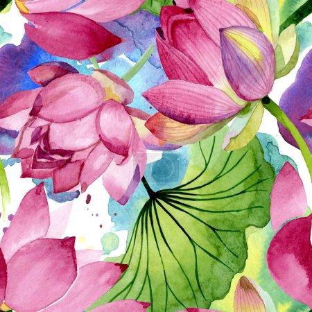 Foto de Flores botánicas florales de loto rosa. Flor silvestre de la hoja de primavera wildflower. Conjunto de ilustraciones de acuarela. Acuarela dibujando moda acuarela. Patrón de fondo sin costuras. Textura de impresión de fondo de pantalla de tela. - Imagen libre de derechos
