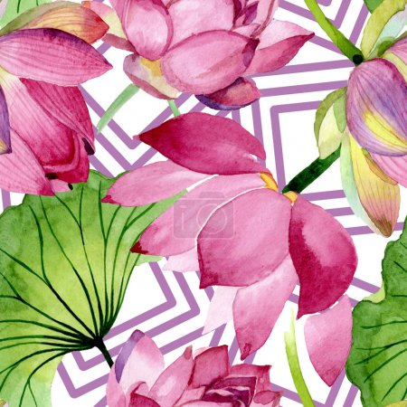 Photo for Pink lotus floral botanical flowers. Wild spring leaf wildflower. Watercolor illustration set. Watercolour drawing fashion aquarelle. Seamless background pattern. Fabric wallpaper print texture. - Royalty Free Image