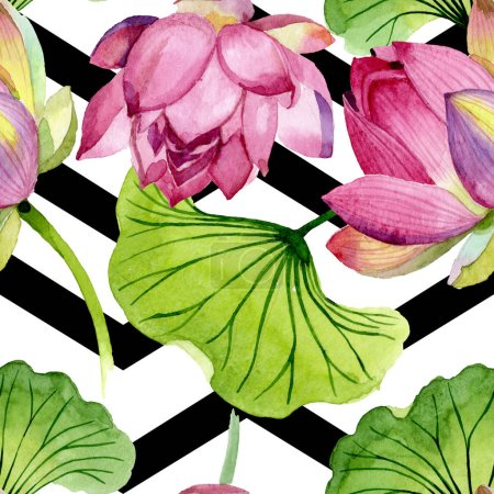 Foto de Pink lotus floral botanical flowers. Wild spring leaf wildflower. Watercolor illustration set. Watercolour drawing fashion aquarelle. Seamless background pattern. Fabric wallpaper print texture. - Imagen libre de derechos