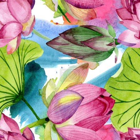 Photo pour Fleurs botaniques florales de lotus rose. Feuille de printemps sauvage fleur sauvage. Ensemble d'illustration aquarelle. Aquarelle dessin mode aquarelle. Modèle de fond sans couture. Texture d'impression papier peint tissu . - image libre de droit
