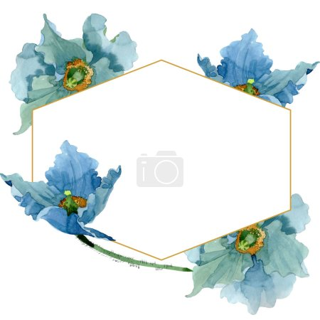 Foto de Blue poppy floral botanical flowers. Wild spring leaf wildflower isolated. Watercolor background illustration set. Watercolour drawing fashion aquarelle isolated. Frame border crystal ornament square. - Imagen libre de derechos