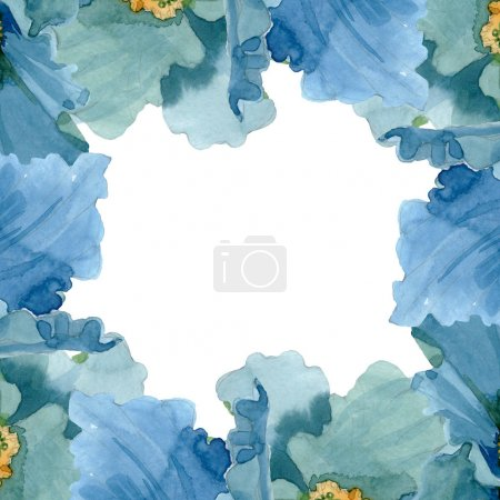 Photo for Blue poppy floral botanical flowers. Wild spring leaf wildflower isolated. Watercolor background illustration set. Watercolour drawing fashion aquarelle isolated. Frame border ornament square. - Royalty Free Image
