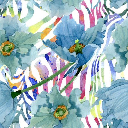 Photo for Blue poppy floral botanical flowers. Wild spring leaf wildflower. Watercolor illustration set. Watercolour drawing fashion aquarelle. Seamless background pattern. Fabric wallpaper print texture. - Royalty Free Image