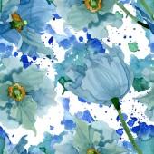 """Постер, картина, фотообои """"Голубой мак цветочные ботанические цветы. Набор фоновых иллюстраций акварели. Бесшовный фоновый шаблон."""""""