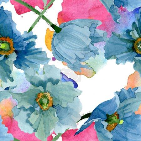 Photo pour Fleurs botaniques florales bleues de pavot. Fleur sauvage sauvage de feuille de source. Ensemble d'illustration d'aquarelle. Aquarelle de dessin à l'aquarelle. Modèle de fond sans couture. Texture d'impression de papier peint de tissu. - image libre de droit