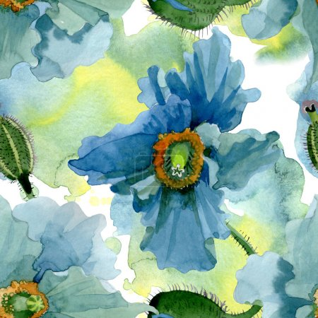 Foto de Blue poppy floral botanical flowers. Wild spring leaf wildflower. Watercolor illustration set. Watercolour drawing fashion aquarelle. Seamless background pattern. Fabric wallpaper print texture. - Imagen libre de derechos