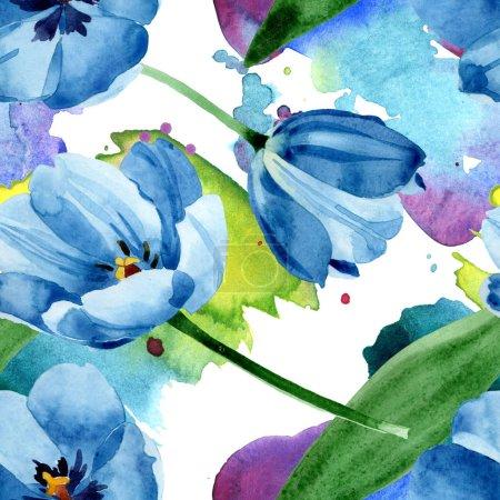 Foto de Flores botánicas florales de tulipán azul. Flor silvestre de la hoja de primavera wildflower. Conjunto de ilustraciones de acuarela. Acuarela dibujando moda acuarela. Patrón de fondo sin costuras. Textura de impresión de fondo de pantalla de tela. - Imagen libre de derechos