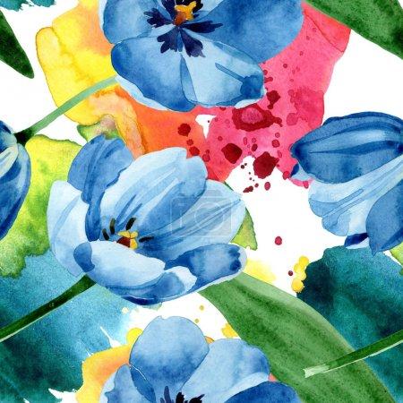 Photo pour Fleurs botaniques florales bleues de tulipe. Fleur sauvage sauvage de feuille de source. Ensemble d'illustration d'aquarelle. Aquarelle de dessin à l'aquarelle. Modèle de fond sans couture. Texture d'impression de papier peint de tissu. - image libre de droit