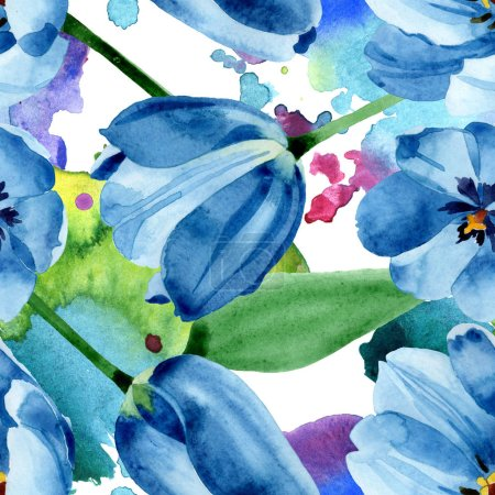 Photo for Blue tulip floral botanical flowers. Wild spring leaf wildflower. Watercolor illustration set. Watercolour drawing fashion aquarelle. Seamless background pattern. Fabric wallpaper print texture. - Royalty Free Image