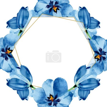 Photo for Blue tulip floral botanical flowers. Wild spring leaf wildflower isolated. Watercolor background illustration set. Watercolour drawing fashion aquarelle isolated. Frame border ornament square. - Royalty Free Image