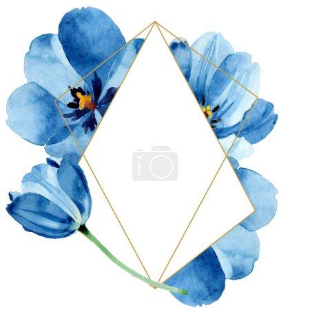 Photo pour Fleurs botaniques florales bleues de tulipe. Fleur sauvage de neige sauvage de feuille de source d'isolement. Ensemble d'illustration de fond d'aquarelle. Aquarelle de dessin à l'aquarelle. Carré d'ornement de cristal de bordure de cadre. - image libre de droit