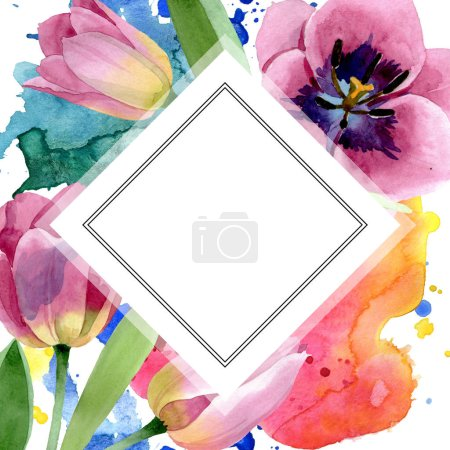 Photo for Pink tulips floral botanical flower. Wild spring leaf wildflower isolated. Watercolor background illustration set. Watercolour drawing fashion aquarelle isolated. Frame border ornament square. - Royalty Free Image