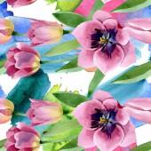"Постер, картина, фотообои ""Pink tulips floral botanical flowers. Watercolor background illustration set. Seamless background pattern."""