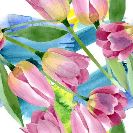 Foto de Tulipanes rosados floral flor botánica. Flor silvestre de la hoja de primavera wildflower. Conjunto de ilustraciones de acuarela. Acuarela dibujando moda acuarela. Patrón de fondo sin costuras. Textura de impresión de fondo de pantalla de tela. - Imagen libre de derechos