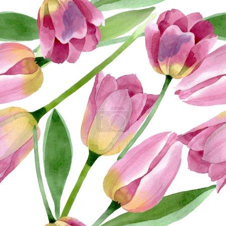 Photo pour Fleurs botaniques florales de tulipes roses. Fleur sauvage sauvage de feuille de source. Ensemble d'illustration d'aquarelle. Aquarelle de dessin à l'aquarelle. Modèle de fond sans couture. Texture d'impression de papier peint de tissu. - image libre de droit